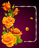 Векторные оранжевая роза и жемчугом кадра. Дизайн элементов.