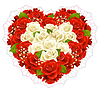 Vector clipart: Bunch of roses in the shape of heart