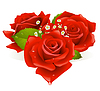 Vector clipart: Three roses in the shape of heart