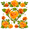 Vector clipart: Orange Rose design elements