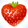 Vector clipart: Strawberry in the shape of heart