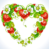 Vector clipart: strawberry frame in the shape of heart