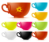 Vector clipart: Set of colored of tea cup