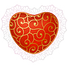 Vector clipart: Red heart with lace