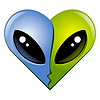 Vector clipart: Kissing aliens