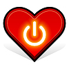 Vector clipart: heart. power button