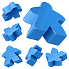 Vector clipart: Blue wooden Meeple set isolated on white