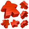 Red wooden meeples