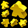 Vector clipart: Yellow wooden Meeple set