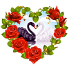 Red Roses and couple Swans