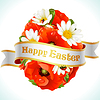 Vector clipart: Vector Easter egg from flowers of camomiles and poppies