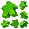 Green wooden Meeple set