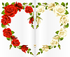 Vector clipart: Red and white Rose frame in the shape of heart