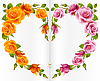 Vector clipart: Orange and pink Rose frame in the shape of heart
