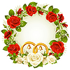 Vector clipart: Flower frame. Vector white and red rose