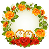 Flower frame of orange and red roses