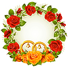 Flower frame. Vector orange and red rose