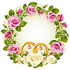 Flower frame. Vector white and pink rose