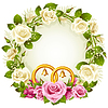 Vector clipart: Flower frame. Vector white and pink rose