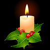 Vector clipart: Vector Christmas candle and holly