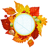 Vector clipart: Autumnal round frame with fall leaf, chestnut, acorn and ash