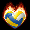 Vector clipart: volleyball on fire in the shape of heart