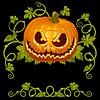 Vector clipart: Pumpkin Jack vintage corner isolated on black