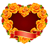 ID 3279151 | Vector orange Rose Frame in the shape of heart | 벡터 클립 아트 | CLIPARTO