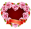 Vector pink Rose Frame in the shape of heart
