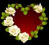 Framework of white roses in the shape of heart