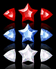 Vector clipart: Jewelry icons of stars and arrows: red, blue, white