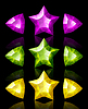 Vector clipart: Jewelry icons of stars and arrows: violet, green,