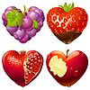 Vector clipart: Shape of heart set 2. Strawberry, grapes, pomegranate