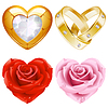 Shape of heart set. Golden jewellery and roses