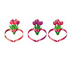 Векторный клипарт: Tulip букеты в форме сердца с лентами