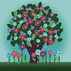 Vector clipart: Decorative tree and flowers