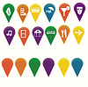 Vector clipart: Map markers with travel/entertainment symbols