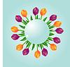 Векторный клипарт: Фиолетовый и желтый тюльпаны с сфере