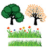 Seasonal trees and grass