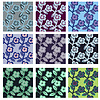 Vector clipart: Pack of 9 variants seamless floral stems patterns