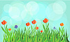 Flowering meadow with blue background