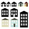 Simple buildings set | Stock Vector Graphics