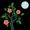 Vector clipart: Branch with flowers at night