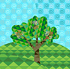 Vector clipart: Geometric landscape with tree and hills