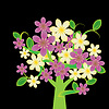 Fantasy flowering tree with pink and cream flowers