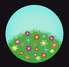 Vector clipart: Sphere with flowering field
