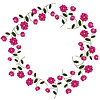 Vector clipart: Floral frame with decorative pink flowers