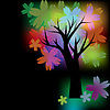 Glowing tree with multicolored flowers