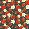 Strawberry fruits and flowers seamless pattern