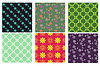 Vector clipart: Set of 6 seamless floral and diamond patterns